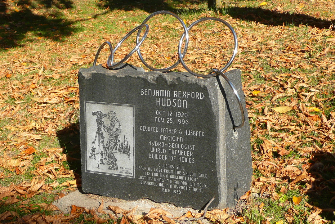 Hudson, J.B. MEMORIAL STONE for Benj. R. Hudson magician.JPG