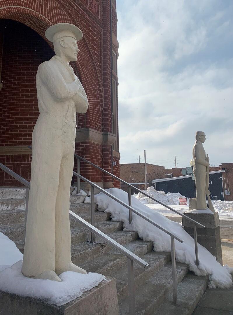 Memorial Hall Civil War Veteran Statues Side View