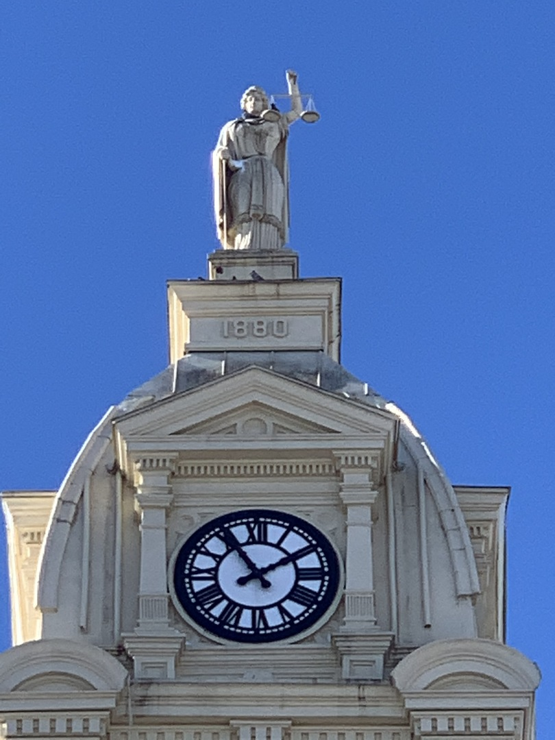 Clock Tower and Lady Justice from Front