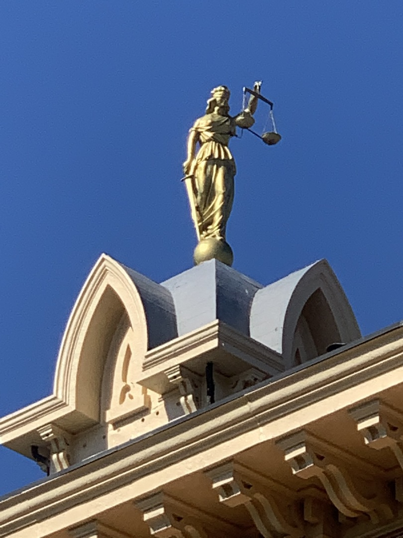 Close-Up View Lady Justice, Historic Delaware County Courthouse