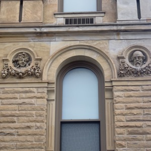 View of Southern End of West-Facing Wall Faces, Marion County Courthouse