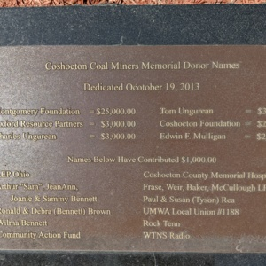 Coshocton Coal Miners Memorial- Plaque 1