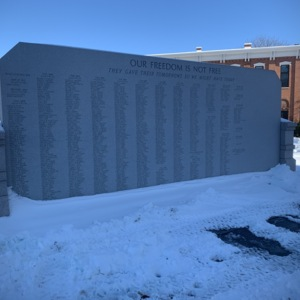 Back of the Union County Veterans Remembrance Monument