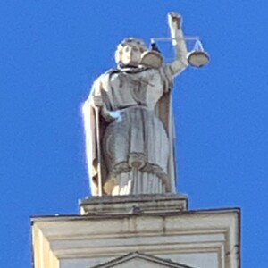 Close up of Lady Justice, Union County Courthouse