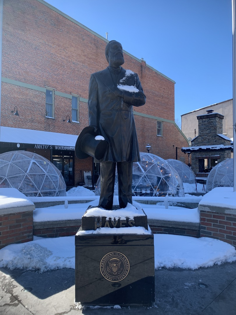 Rutherford B. Hayes statue from front