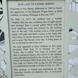 Our Lady of Fatima Informational Sign