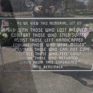 Coshocton County Vietnam Veterans Memorial- Front