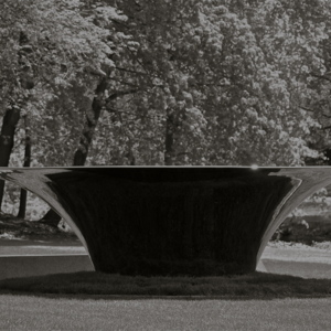 """""""Hearth"""" Cultural Gardens, Cleveland, OH. Mirror polished stainless steel 212 x 212 x 68 r park Cleveland OH.jpg"""