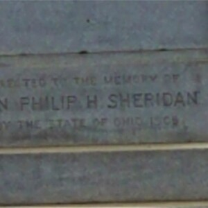 Close-up of Dedicatory Engraving on Sheridan Monument