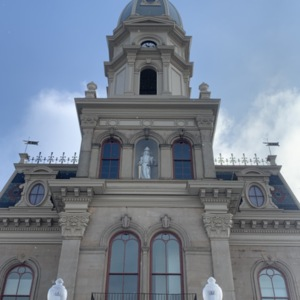 Lady Justice in the Front on Logan County County Courthouse