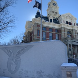 Union County Veterans Remembrance Monument with Courthouse